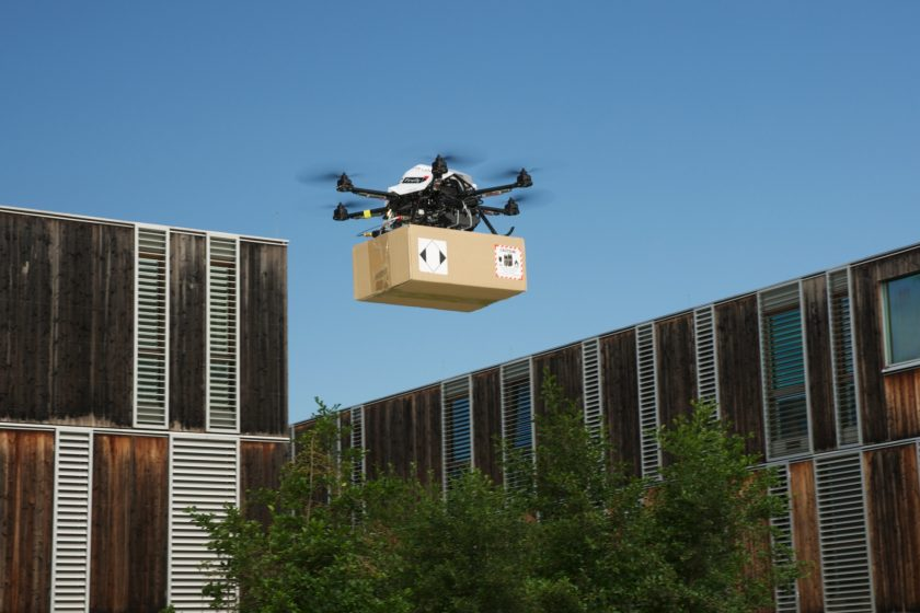 Minidrone delivers parcel