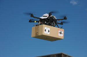 Minidrone delivers a parcel