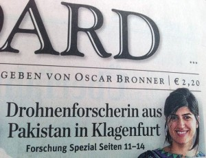 "Samira Hayat on the cover page of ""Der Standard"""