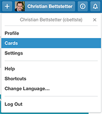 "A click on ""Cards"" yields your personal to-do list."