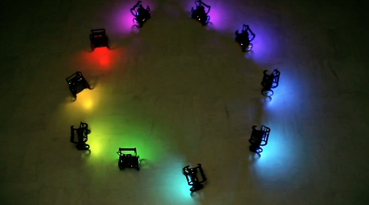 Robots that sync and swarm: A proof of concept in ROS 2